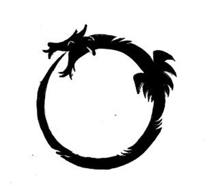 """The Ouroboros is an ancient symbol depicting a serpent or dragon eating its own tail. The name originates from within Greek language; (oura) meaning """"tail"""" and (boros) meaning """"eating"""", thus """"he who eats the tail""""."""